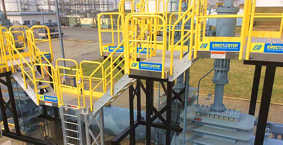 Aluminum Stairs on a Custom Raised Work Area