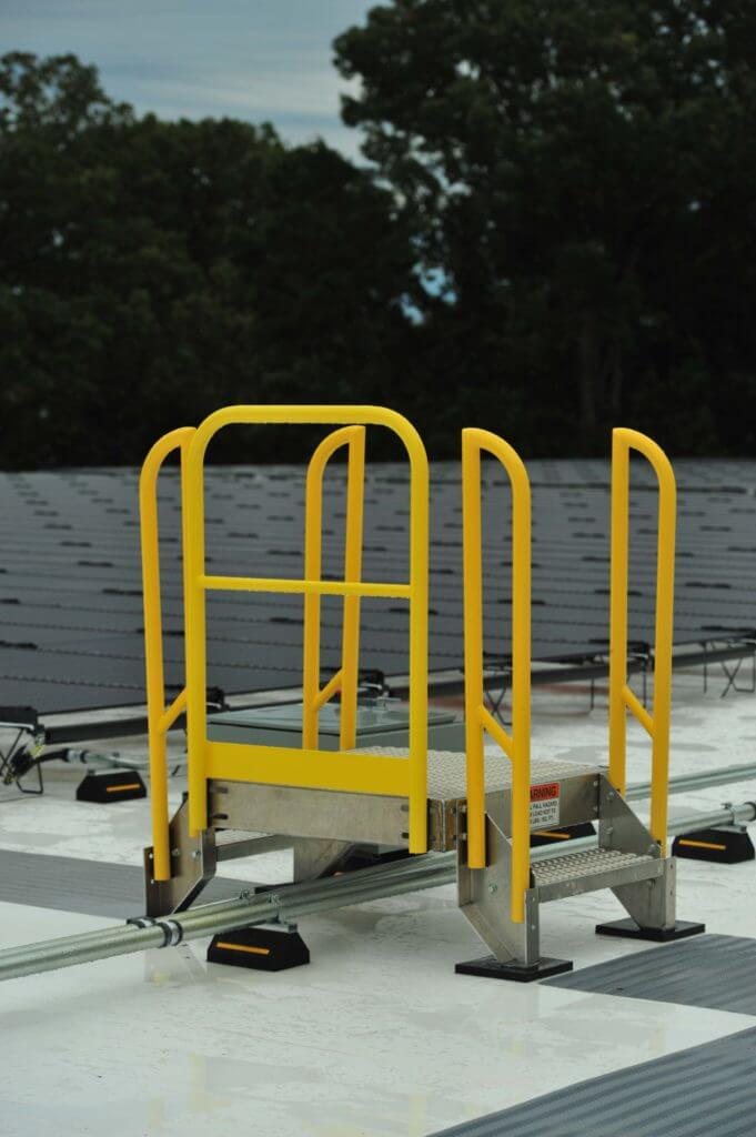 1 step Aluminum Rooftop Maintenance Platform on Solar Panel Rooftop