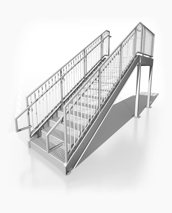 IBC Compliant Prefabricated Metal Stairs 8ft.