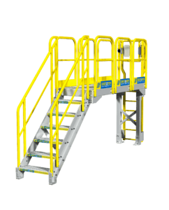 Catwalk platform with metal stairs