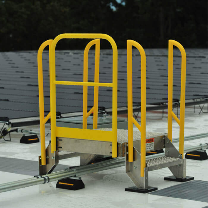 Crossover Stair Outdoors for Maintenance on Solar Panel Rooftop