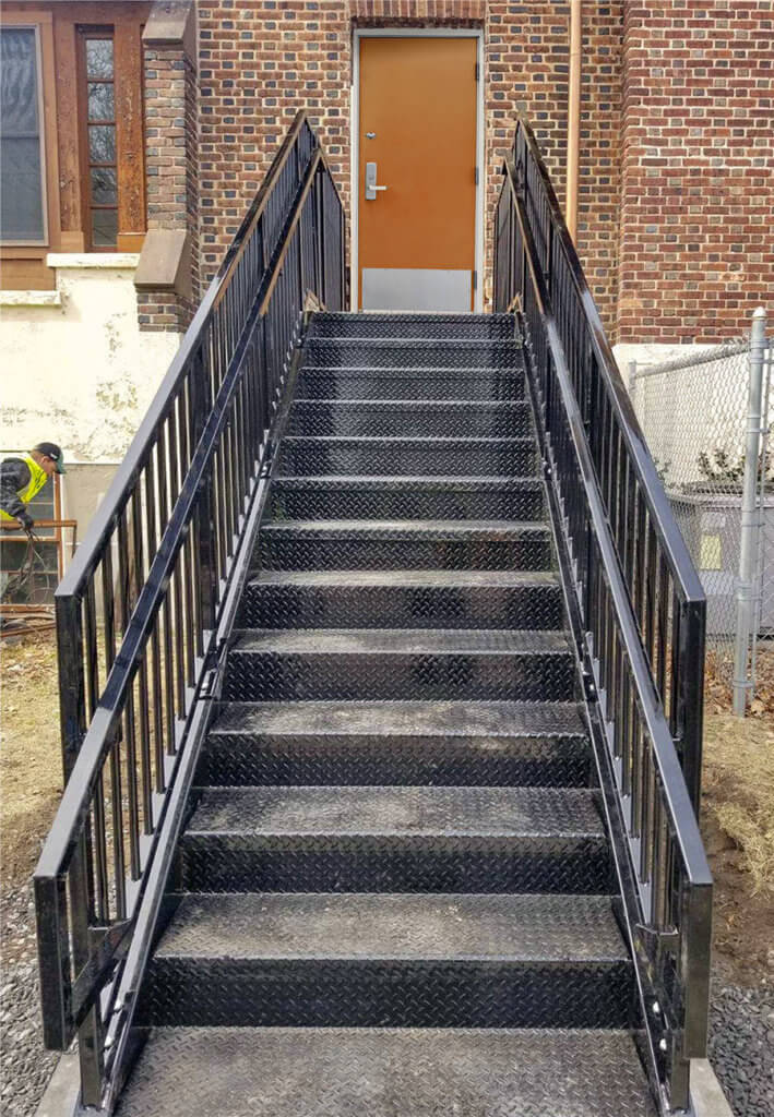 Commercial Stair from ErectaStep, for an exterior fire door exit
