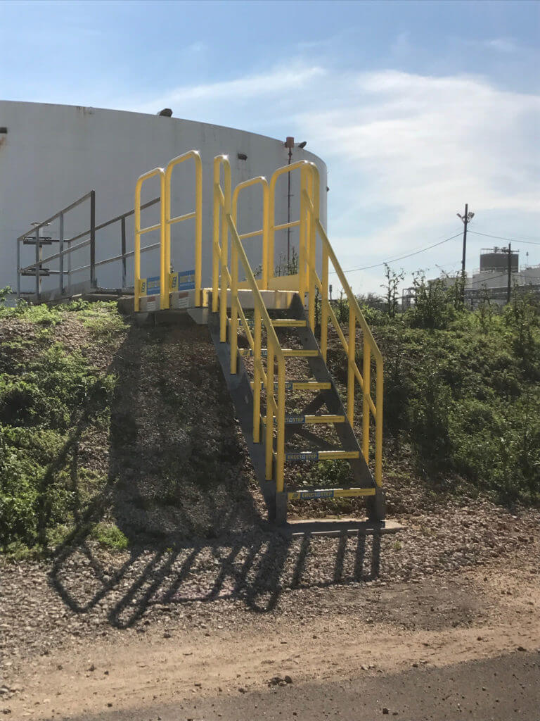 ErectaStep 7-Step industrial Crossover stairs on hillside