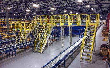 ErectaStep Distribution center raised walkway service platform