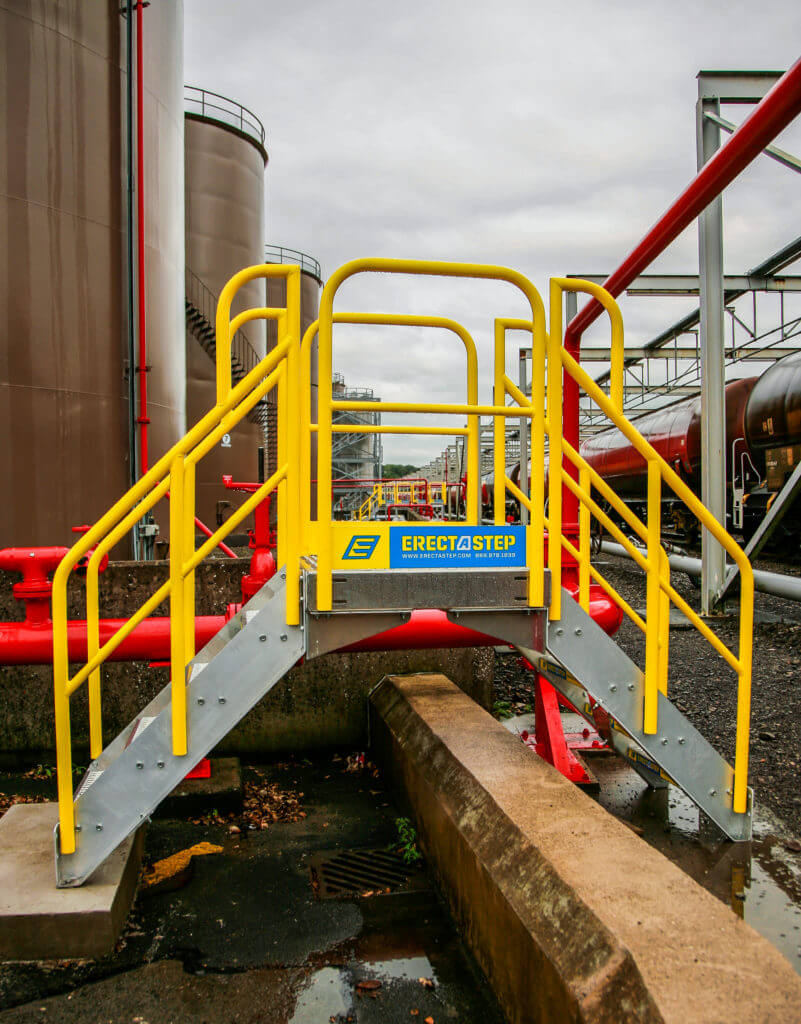 Erectastep 5 Step industrial crossover stairs for railroad Spill Berm