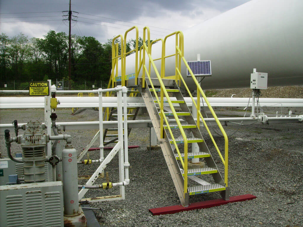 Erectastep 8 step crossover over industrial pipe