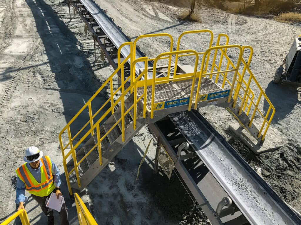 Erectastep Cement conveyer belt industrial crossover stairs