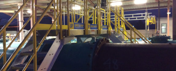 Erectastep crossover stairs in Porterville facility