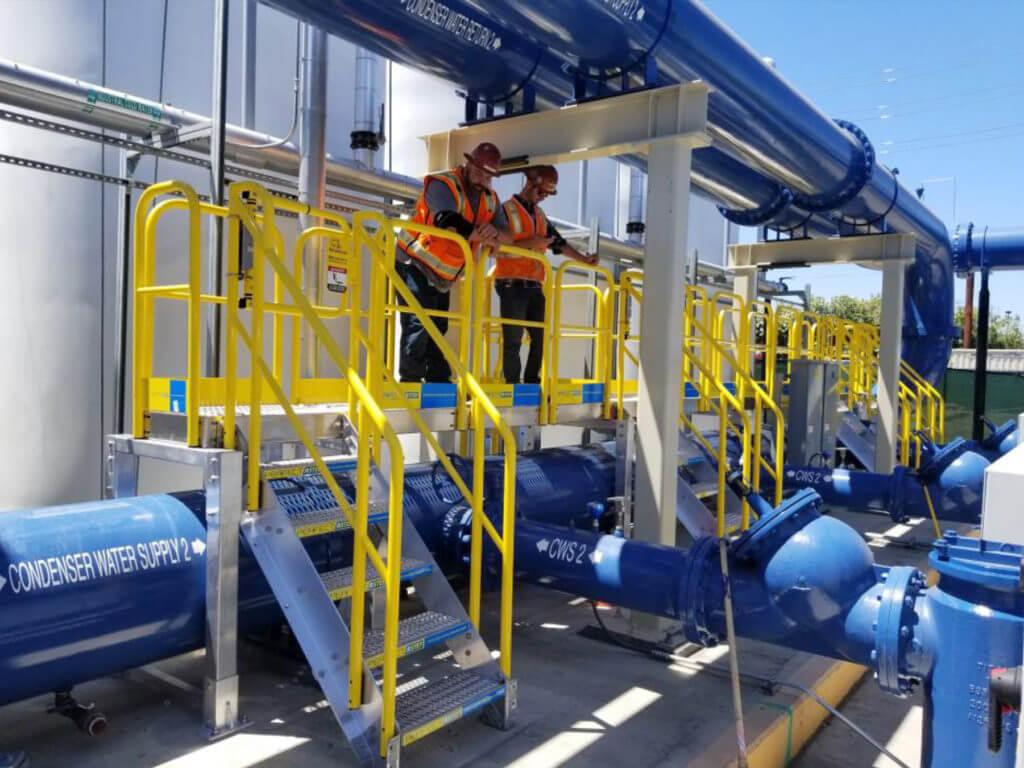Erectastep TrueBeck Construction Chiller Plant 30ft Pipe industrial Access platform