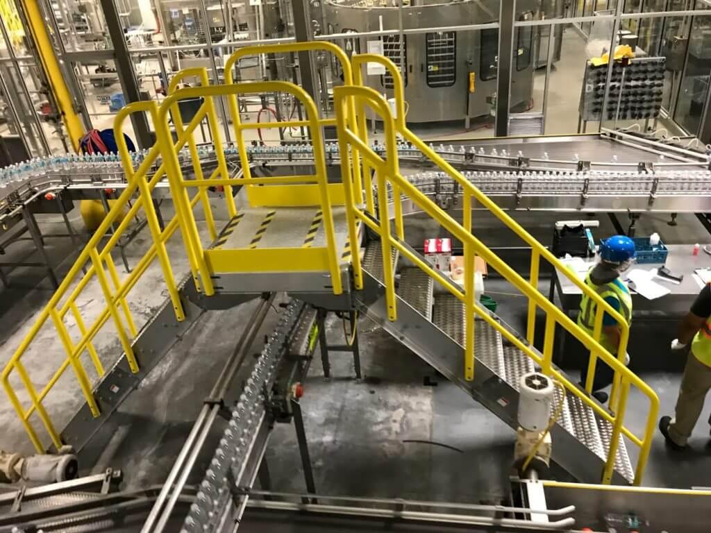 industrial metal crossover stairs