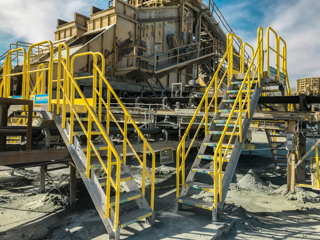 Erectastep dual industrial Crossover stairs over Cement Conveyor Belt