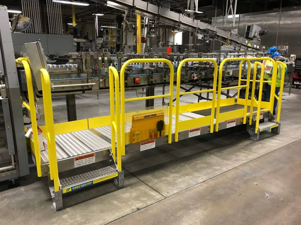 Erectastep manufacturing equipment access platform and industrial stairs