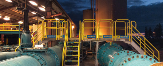 Erectastep multidirectional crossover industrial stairs at Porterville