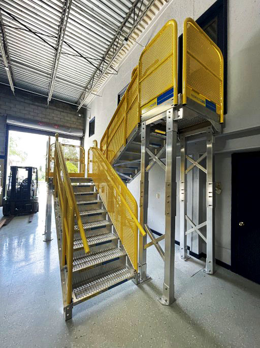 Erectastep metal stair with switchback