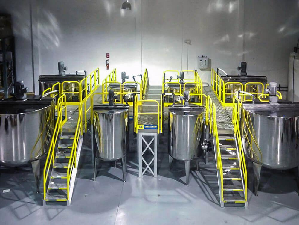 Metal Stairs With Custom Access Work Platform