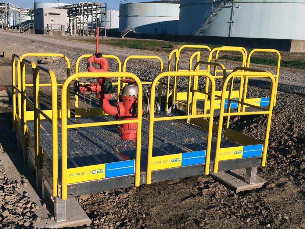 Metal Work Platform With Guard Rails