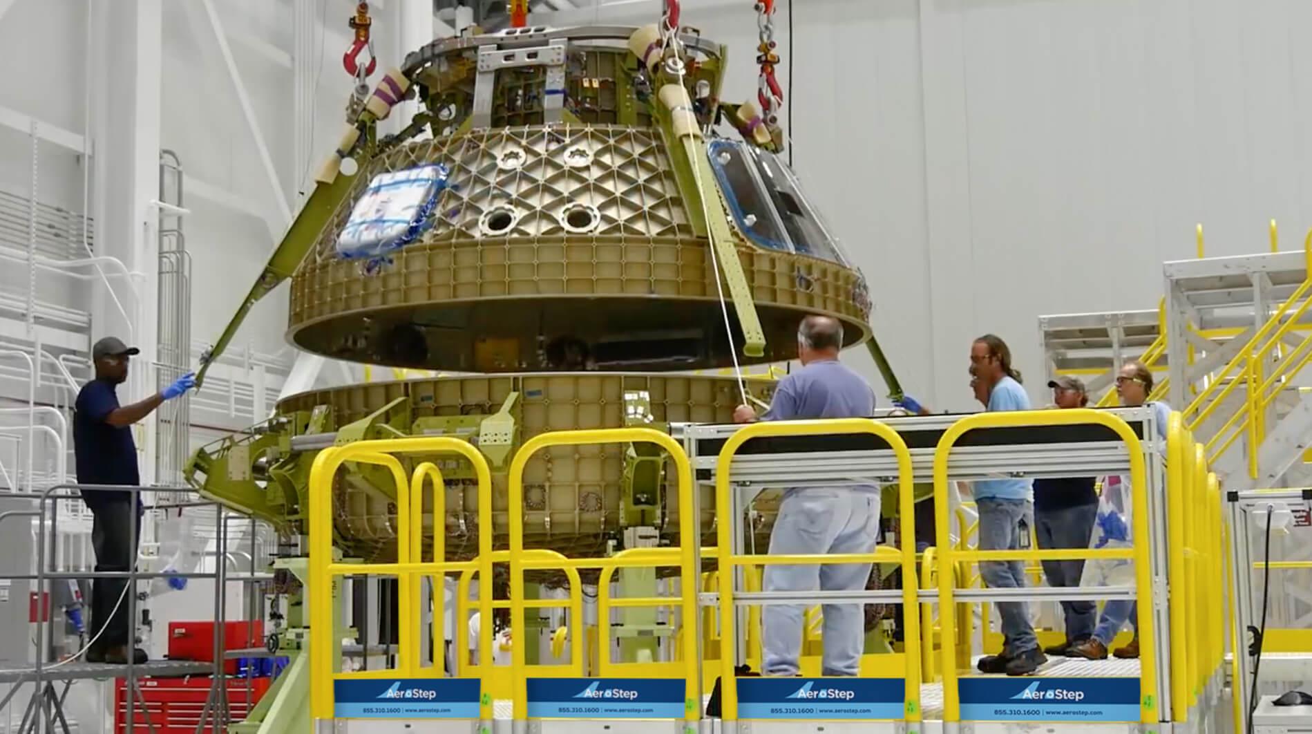 Metal Work Platform with Railing for NASA Space Capsule