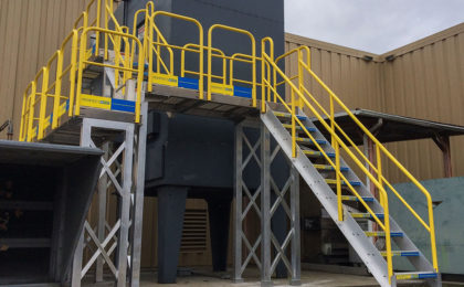 Perfectastep stairs to generator with access platform surrounding building