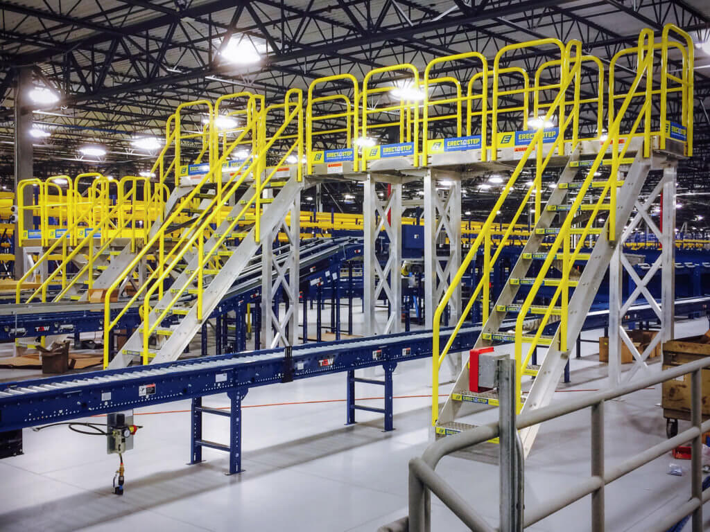 raised metal stairs and maintenance work platform