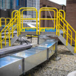 Rooftop Crossover Stair Work Platform Outdoors for Maintenance