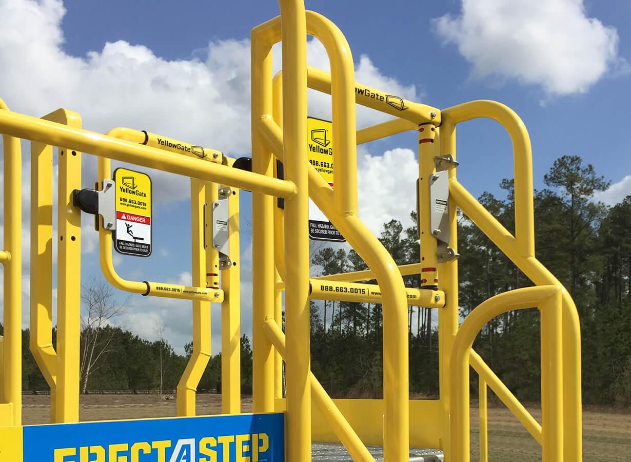 Yellowgate safety swing gate mounted to erectastep metal