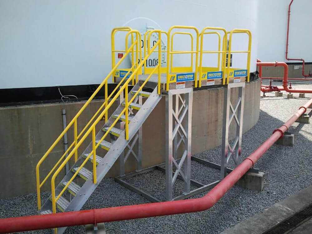 Metal Stair Work Platform in a Tank Farm