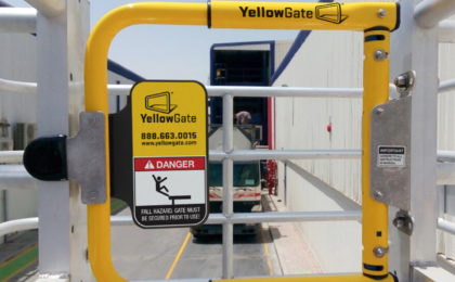 YellowGate swing gate mounted on a SafeRack MAUI truck access unit