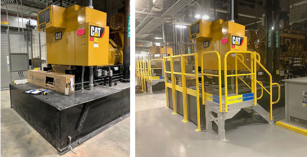 backup generator OSHA compliant access stairs and handrails