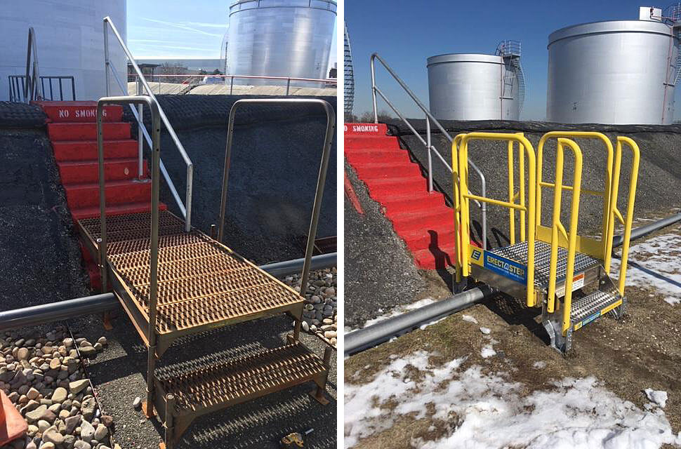 Anti Slip Stair Treads on a Metal Stair Crossover for tank farms
