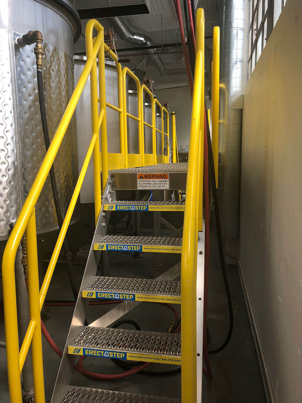 5 Step Metal Stairs With Aluminum Handrails for Tank Access at Portland Distillery