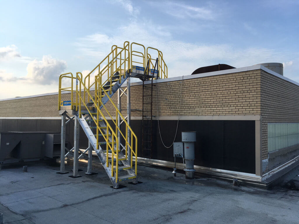 Full View of Roof Access Metal Stairs Installation for Campbell Soup