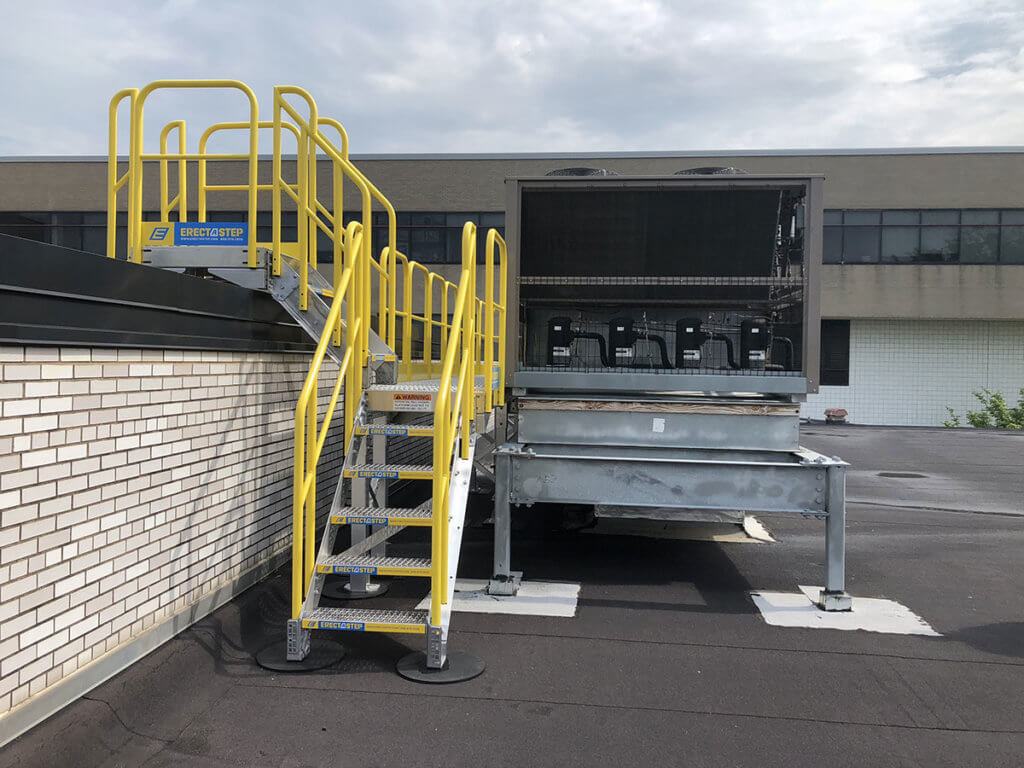 Metal Stairs with Handrails for Rooftop Access