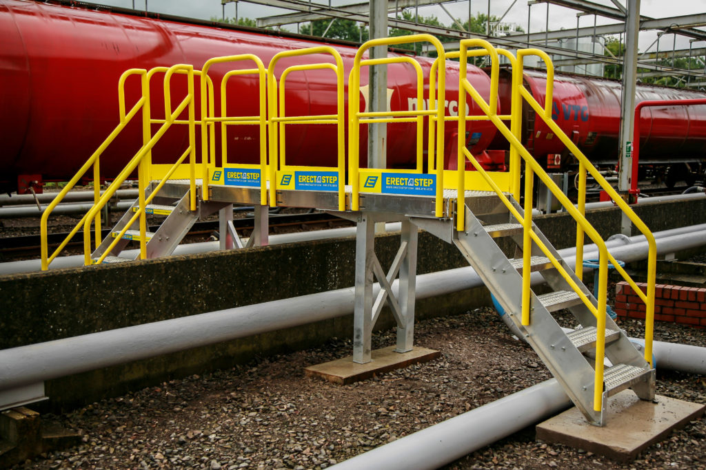 Erectastep cross over pipe sleepers in a terminal