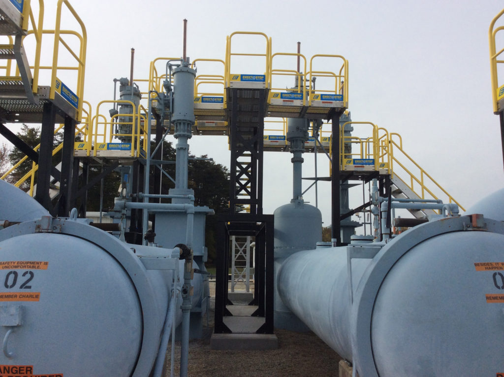 Erectastep high pipe industrial crossover stairs