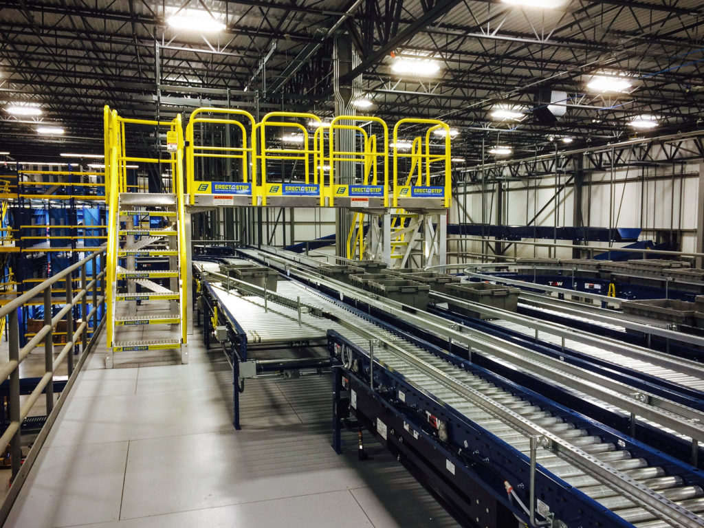Erectastep stairs crossover distribution roller tables