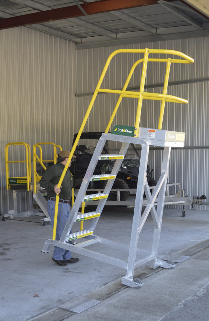 RollaStep TR-Series unit for safe reliable for this customer's helicopter engine maintenance access