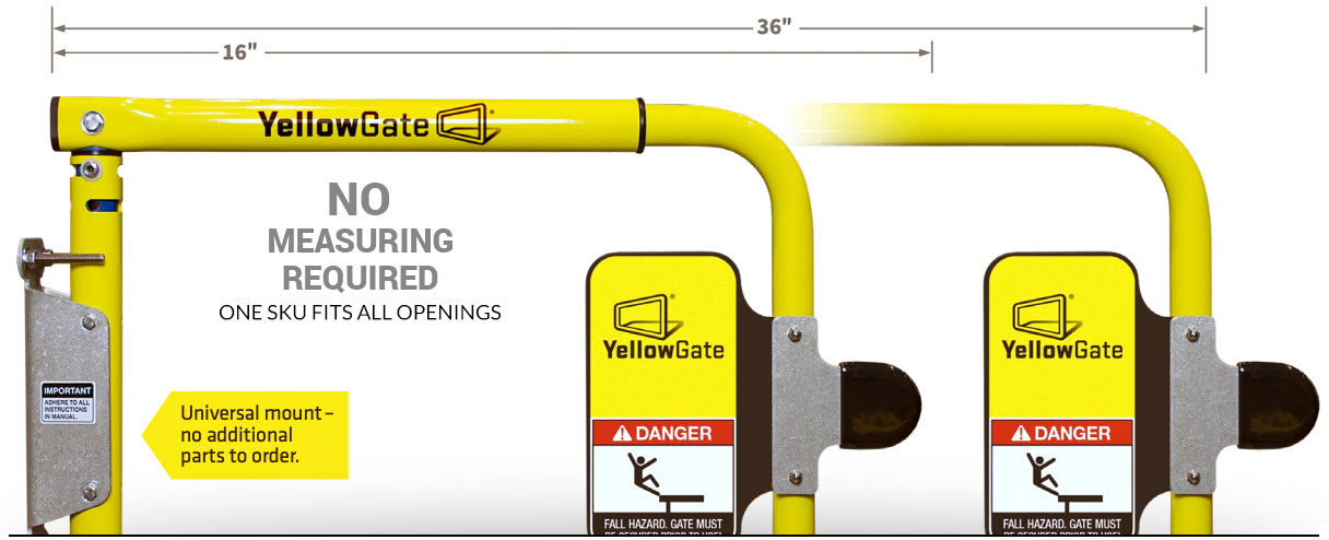 YellowGate variable width industrial swing gate