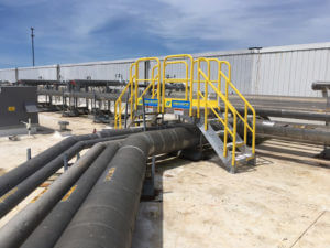 Erectastep Americold Rooftop Cold Storage 4-Step Pipe Crossover Stairs