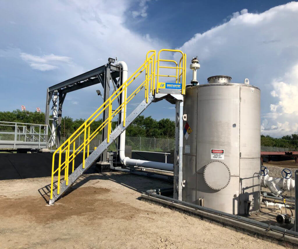 ErectaStep's 14 stair unit access storage tank at a Kinder Morgan facility